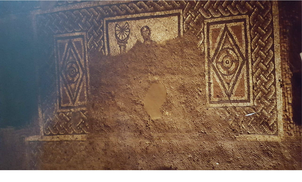Flood damage to the floors and mosaics in 1994