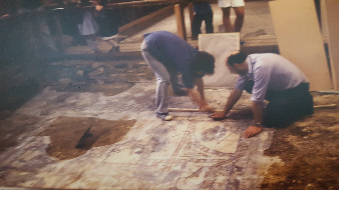 Lifting the bacchus mosaic in 1982